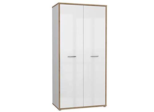 Furniture24 Kleiderschrank Chicory CHRBS821, Kleiderschrank, Schrank mit Kleiderstange und 5 Einlegeboden, 2Türiger Drehtürenschrank, Hochglanz Weiß - Riviera Eiche