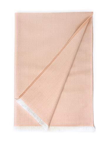 Alpaca Home | 100% Pure Premium Alpaca Wool Throw Blanket • Herringbone • Ethically Sourced | Hypoallergenic - Cozier, Softer & Warmer Than Wool | 71 in. X 51 in. | Ltd Edition (Ballet Slipper)