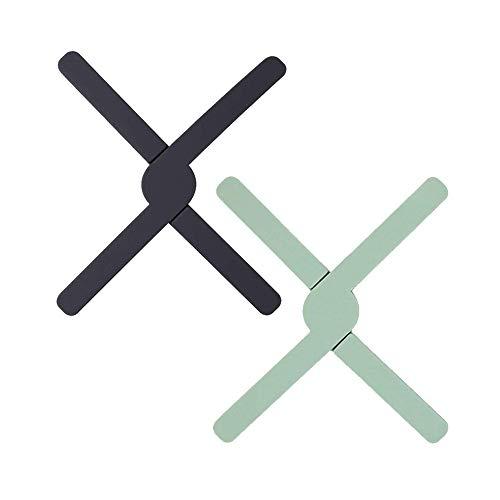 Cyleibe Juego de 2 salvamanteles plegables de silicona para sartenes calientes, para...