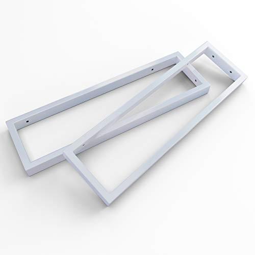 KERABAD 2 x Edelstahl Konsolenträger Konsole für Waschtischplatte Regal Handtuchhalter in Weiss-matt 45cm