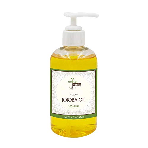 Golden Jojoba Oil by Noble Roots Cold Pressed Natural Moisturizer for Conditioning Face Skin Hair Scalp and Cuticles 8 fl oz