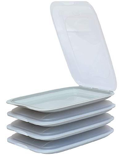 Design 4X Aufschnittboxen/Frischhalteboxen/Frischhaltedose stapelbar in der Farbe Grau geeignet für Aufschnitt wie Wurst und Käse und vieles mehr in der Größe 25x17x3.3cm