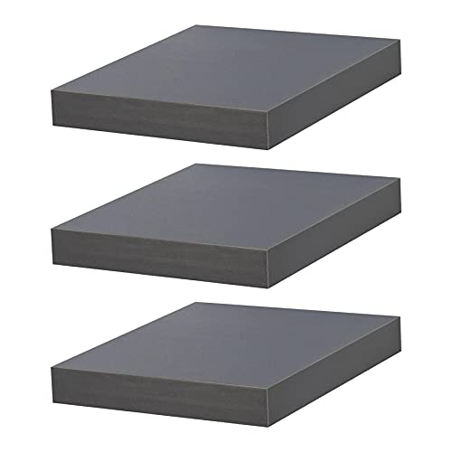 Harbour Housewares Floating Wooden Wall Shelf Shelves - 25cm x 25cm Square - Grey - Pack of 3