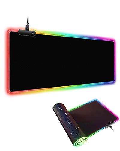 Gaming Mauspad XXL-800 x 300 mm, LWYOU RGB Mousepad mit 7 LED Farben 13 Beleuchtungs Modi, wasserdichte Anti Rutsch LED Mouse Pad Schwarz für Computer PC, Laptop, Professionelle Gamer