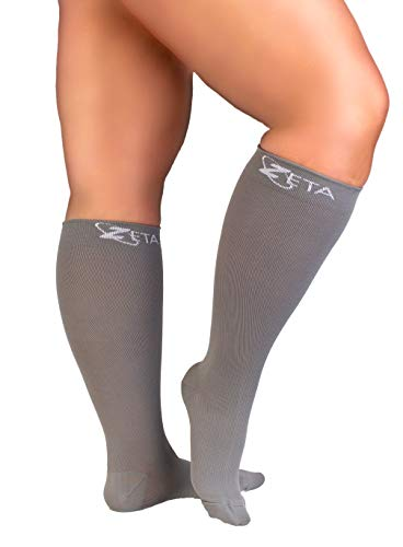 Zeta Socks XXXL Wide Plus Size Calf Compression Soothing Comfy Gradient Support Prevents Swelling Pain Edema DVT Large Cuffs Stretch to 26 Inches Unisex for Flights Gray XXXL