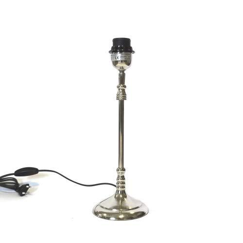 Lampe Lampenfuß Tisch Modern Silber Rund Metall Colmore E27 38 cm