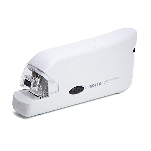 INOZTO ホッチキス 電動 20枚とじ フラットクリンチ ホワイト BO-F10-WH