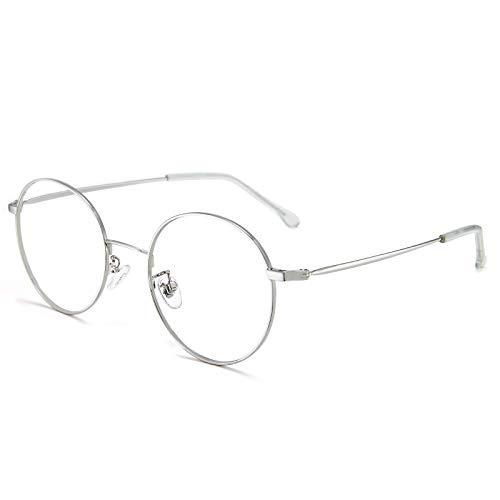 Cyxus Gafas Anti Luz Azul de Marco de metal Anti Tensión de Ojos [Mejor Sueño] (Lentes Transparentes) Unisexo (Hombres/Mujeres) (Plata)