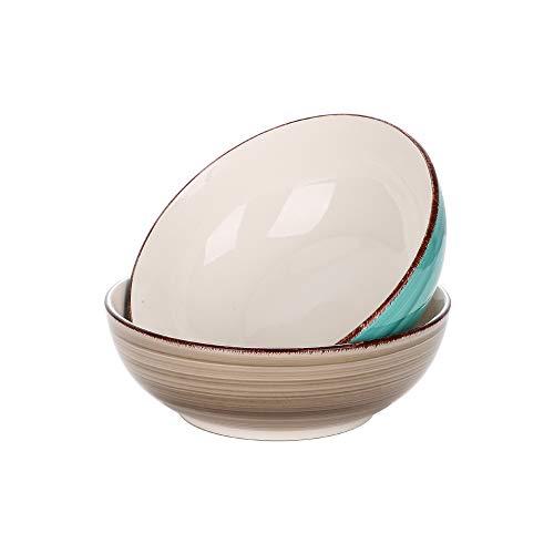 Vancasso Schalen Porzellan, Bella 2 teilig handbemalte große Schüssel Set, Suppenschalen, Ramen Schalen, Salatschalen, Füllmenge 2100 ml