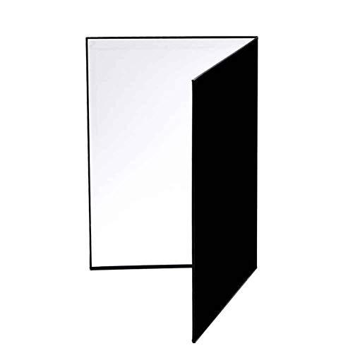 Riflettore di luce in cartone, riflettori fotografici pieghevoli 3 in1 Cartone per fotografia, servizio fotografico da tavolo per alimenti e prodotti - Nero, argento e bianco