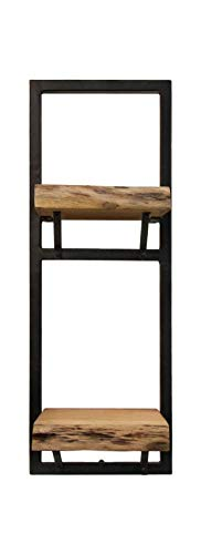 HSM Collection Wandregal, Naturholz / Thermolaque schwarz, 25 x 22 x 70 cm