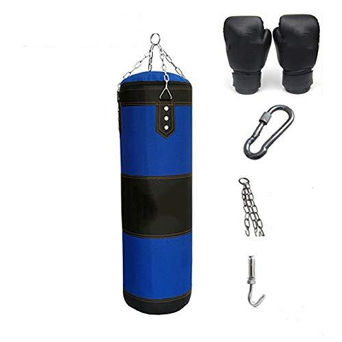 Xxg 60/80 / 100 / 120cm Blue Giant Sandbag Verdickte Canvas Boxsack Sporttraining Haken Hängend Kick-Boxen Leeren Taschen Mit Handschuhen Punchingsäcke Gefüllte (Color : 60cm)