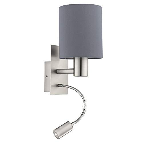 Aplique de pared LED EGLO PASTERI, aplique de pared textil con dos bombillas, material: acero, textil, color: níquel mate, gris, casquillo: E27, incluye interruptor y luz de lectura LED flexible