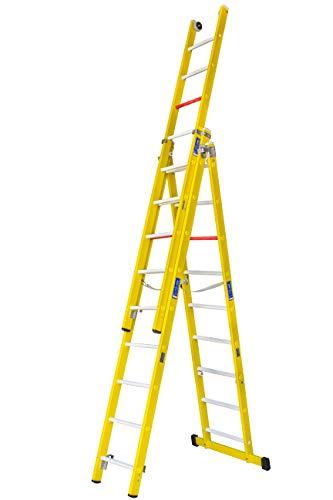 Escalera transformable de tres tramos de fibra de vidrio. Permite su uso en tijera con un...