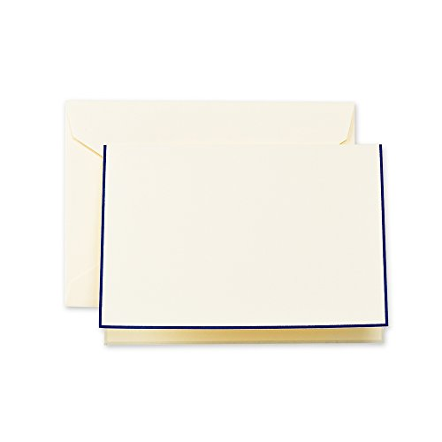 Crane & Co. Regent Blue Bordered Ecruwhite Note (CF1438), Pack of 10