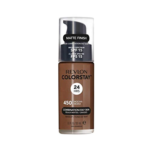 Revlon ColorStay Makeup for Combination/Oily Skin SPF 15, Longwear Liquid Foundation, with Medium-Full Coverage, Matte Finish, Oil Free, 450 Mocha, 1.0 oz