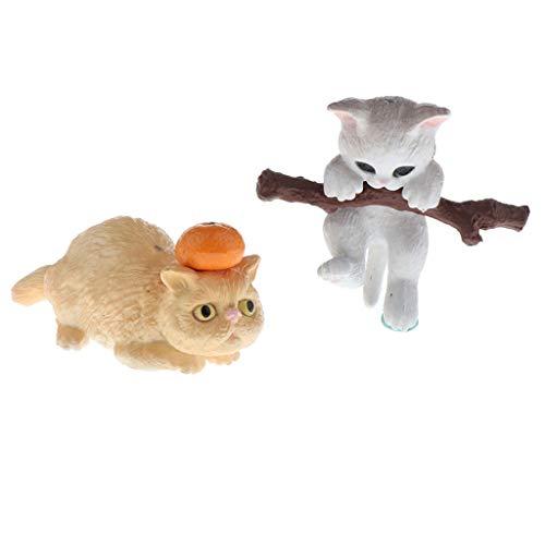 T TOOYFUL 2X Simpatiche Naughty Pet Cat Model Figure di Animali Miniature di Case delle Bambole in Scala 1:12