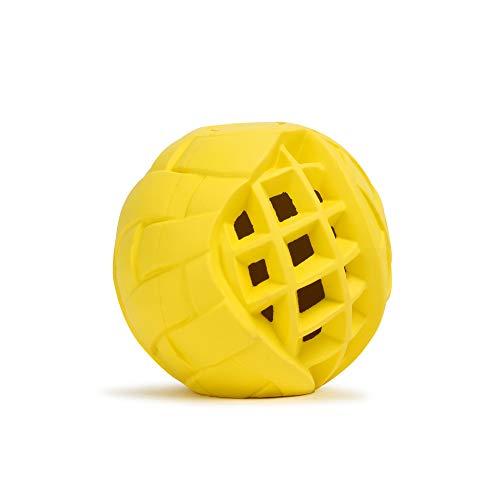 LoYoDo Hundeball | Leckerlie Snack Ball für Hunde | stabil, Hartgummi, leicht | Beschäftigungsspielzeug für Deinen Hund | ideal auch zum werfen | Spielzeug, befüllbar, bissfest | Gelb 13cm
