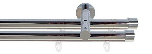 Tilldekor Innenlauf Gardinenstange HIGH-LINE ANDRAX, 2-Lauf, chrom, Ø 20 mm, 240 cm, inkl. Trägern und Gleitern