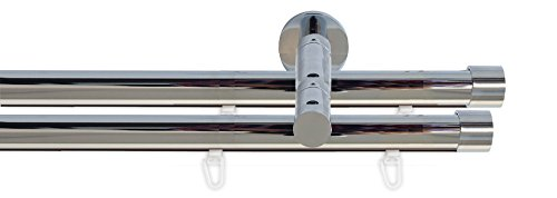Tilldekor Innenlauf Gardinenstange HIGH-LINE ANDRAX, 2-Lauf, chrom, Ø 20 mm, 120 cm, inkl. Trägern und Gleitern