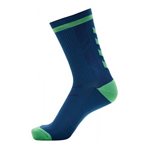 hummel Elite Indoor Sock Low PA Calze, Green Ash/Blue Coral, 39-42 Unisex-Adulto