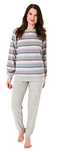 Normann Damen Frottee Pyjama Schlafanzug in Streifenoptik - auch in Übergrössen bis 60/62, Farbe:grau-Melange, Größe2:40/42