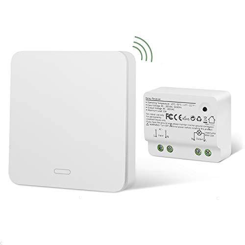 Lichtschalter Funkschalter Set Yissvic Wireless Kinetischer Schalter mit RF-Technologie Verstärktes Signal Keine Leitungsverlegung Kein Bohren Wasserdicht 60 Jahre Lebensdauer (Verpackung MEHRWEG)
