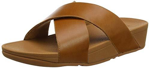 Fitflop Lulu Cross Slide, Sandales Bout ouvert Femme,Marron (Leather 098),36 EU