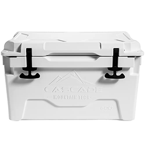 Cascade Mountain Tech Rotomolded Cooler - Heavy Duty for Camping, Fishing, Tailgating, Barbeques, and Outdoor Activities - 60 Quart