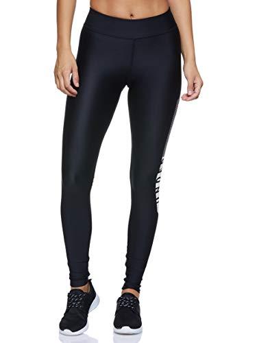 Under Armour Heatgear Armour Graphic Pantalones Deportivos para Mujeres, Pantalones Transpirables de Mujer, cómodas Mallas Deportivas de compresión, Black/White/Metallic Silver (001), XS