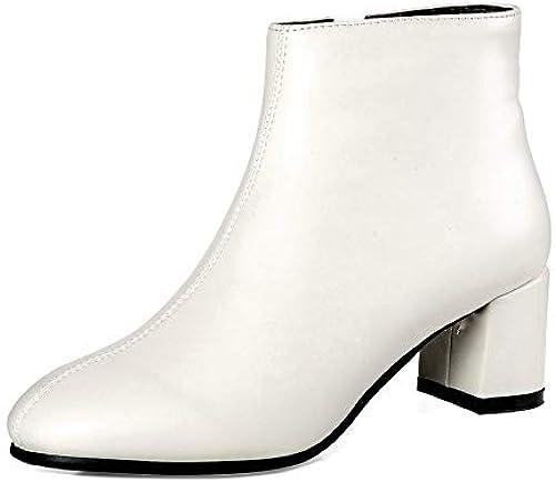 HAOLIEQUAN Les Femmes bottes Fashion Chaussures Femmes Talon Haut Carré Noir De Mode Les Bottes d'hiver Bottes Femmes Fermeture éclair Taille 34-43