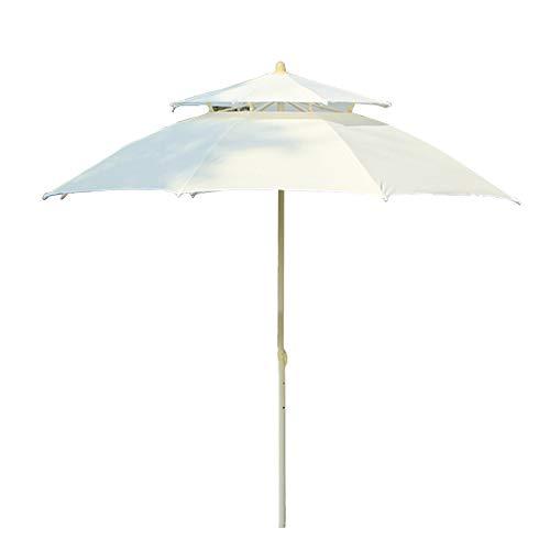 Sombrilla Blanco Redondo Playa, 2 Niveles Exterior Cubierta con Ventilación y 8 Costillas Resistentes, Mesa de Patio, Protección UV (Size : 2.7m/9ft)