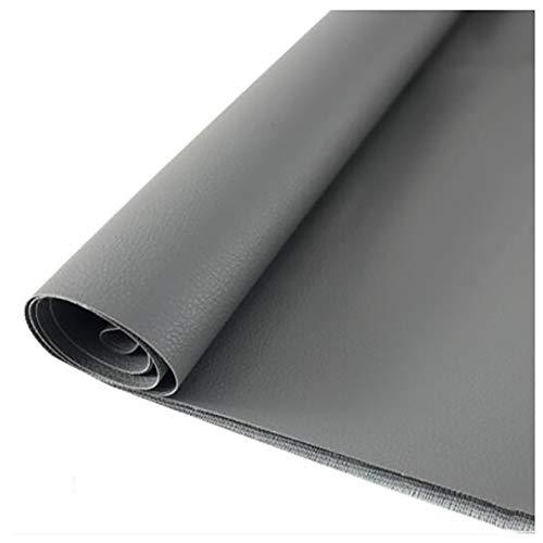 GERYUXA Cuero de Imitación Piezas Hojas de Cuero Sintético Hojas de Tela de Cuero para Hacer Lazos para Manualidades de Polipiel para tapizar-Gris t6 1.38x1.5m