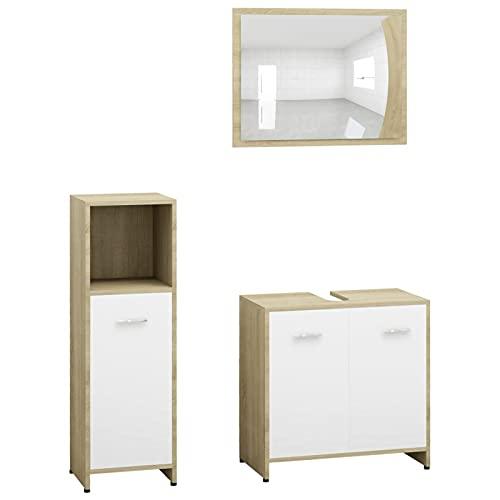 Gawany Set de Muebles de Baño 3 pzas Juego de Muebles de Baño con 1 Armario Mediano,1 Armario Lavabo y 1 Espejo Aglomerado Blanco y Roble Sonoma