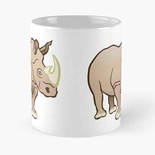 Taza de café de cerámica con diseño de rinoceronte de Africa con animales de rinoceronte y animales de vida silvestre con texto en inglés 'Come Food Bite John Best de 11 oz'