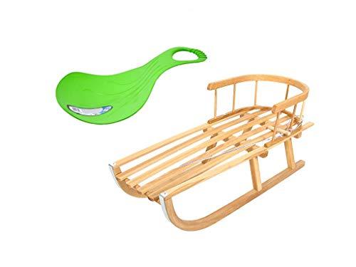 Holzschlitten Kinderschlitten aus Buchenholz Rückenlehne inkl. Zugseil Schlitten Lehne Schieber Metallkufen + Rutscher Schneegleiter Handgriff (Grün)