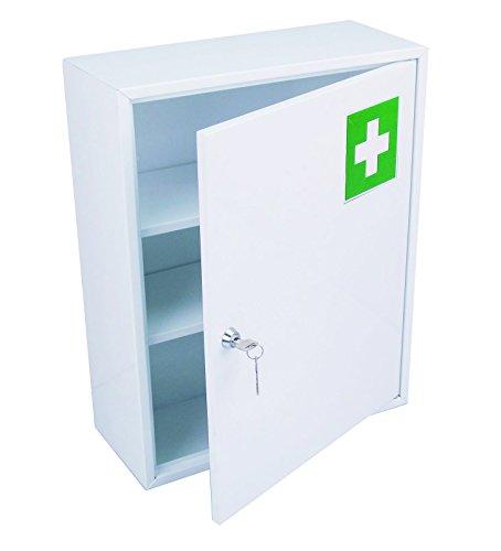 HEXOTOL Armadietto da Farmacia con sportello, in Acciaio, Colore: Bianco, 36x 15x 45cm