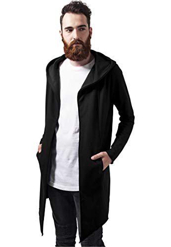 Urban Classics Long Hooded Open Edge Cardigan Sweater, Black, L para Hombre