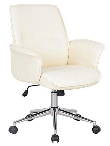 SixBros. Bürostuhl, Schreibtischstuhl mit Armlehne und niedriger Rückenlehne, Drehstuhl stufenlos höhenverstellbar, Sitzbezug aus Kunstleder, Elfenbein weiß 0704M/2491