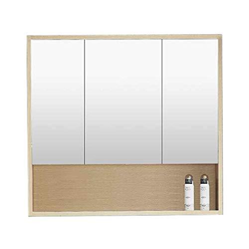 QZ Badezimmerspiegelschrank, Massivholz-Kosmetikspiegel Zur Wandmontage, Dreitüriger Spiegelschrank Mit Regal, Moderner Minimalistischer Badezimmerspiegel (Color : Wood Color, Size : 90x13x70cm)