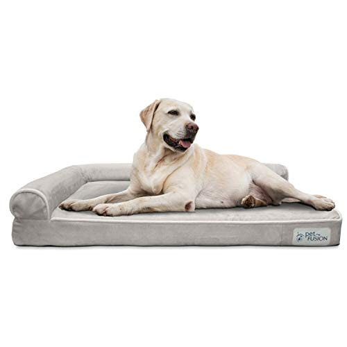 PetFusion BetterLounge Dog Bed Solid Orthopedic Memory Foam, Waterproof Liner & YKK Zippers. (Medium / Large & XL). Easy clean, Removable Micro-suede Cover(Replacements Available). 1 YR WARRANTY