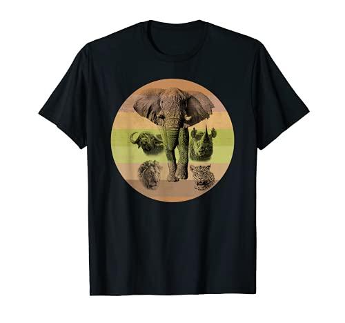 Le grand 5 d'Afrique sur un coucher de soleil de style rétro aux couleurs de l'Afrique T-Shirt