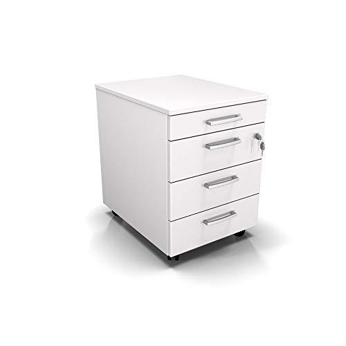 Cassettiera da Ufficio con Rotelle, Tre Cassetti e Un Cassetto Portacancelleria - Montaggio Facile (Bianco, L 42 x P 56 x H 61 cm)