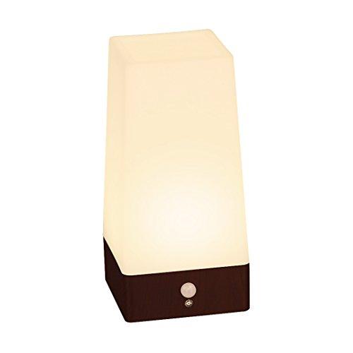 Signstek Wireless PIR Motion Sensor LED Night Light Battery Powered Table Lamp (Square Wood Grain Base)