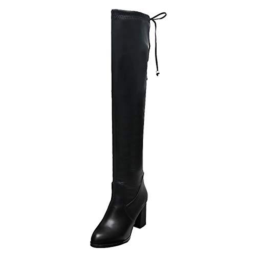 Makalon dames winter laarzen High Heels Mode, voor dames, robuust, High Heels Chunky laarzen dames (zwart, 36)