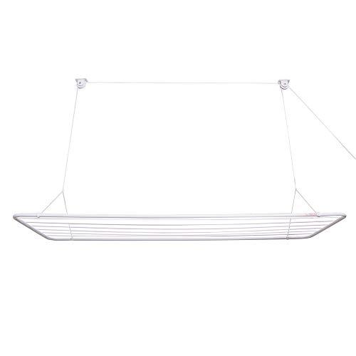 Erica Deckentrockner ERIC 140x50cm, Wäscheständer fûr die Decke mit 11.2 Meter Trocknuznhsoberfläche, Vertikal Zusammenklappbar 2.5 Meter, Metall mit PVC-Beschichtung, Weiß