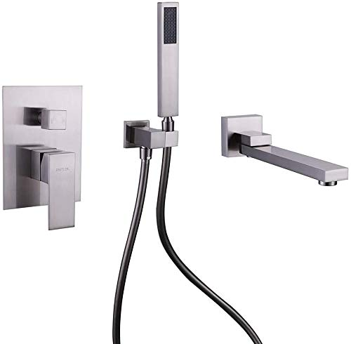 Brushed Nickel Bathtub Faucet with Handheld Shower and 180° Swivel Water Spout, Wall Mounted Tub Filler with Hand Shower Solid Brass Bathroom Shower Faucet with Balanced Valve , DEOLER
