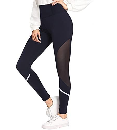 Sykooria Leggings Damen Sport Mesh Blickdicht Fitnesshose Hohe Taille Yogahose mit Taschen für Sport und Alltag