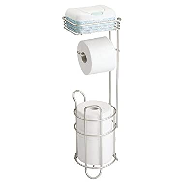 mDesign Freestanding Metal Wire Toilet Paper Roll Dispenser Holder and Extra Roll Reserve with Storage Shelf for Cell, Mobile Phone - Bathroom Storage Organization - Holds 3 Rolls - Satin
