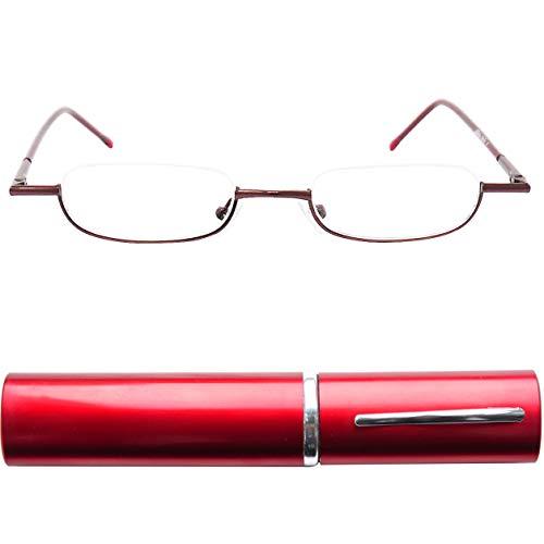 Schmale Metall Mini Halbbrille Lesebrille, Edelstahl Rahmen (Rot), mit GRATIS Slim-Fit Alu Brillenetui, Lesehilfe Damen und Herren +1.5 Dioptrien
